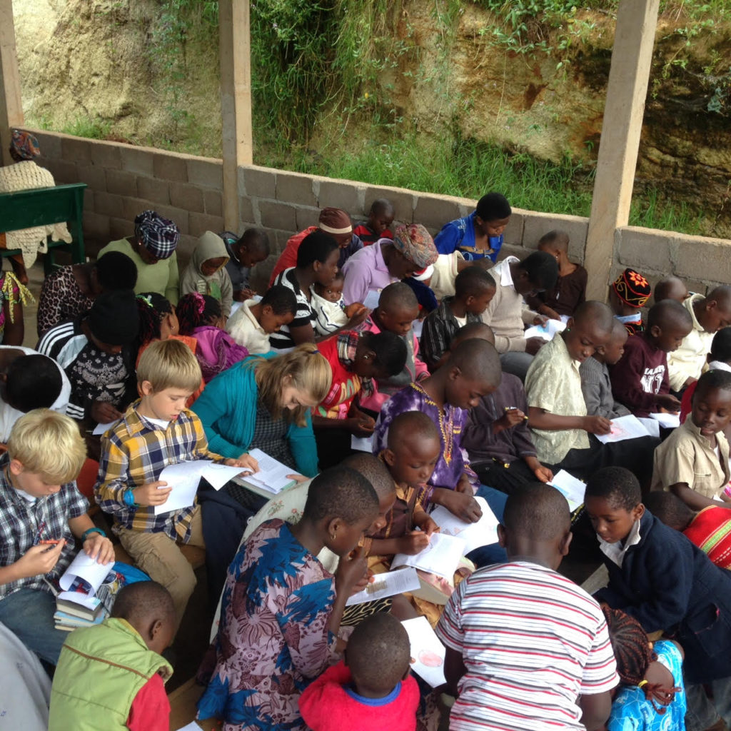 A Group of Children Coloring in Cameroon